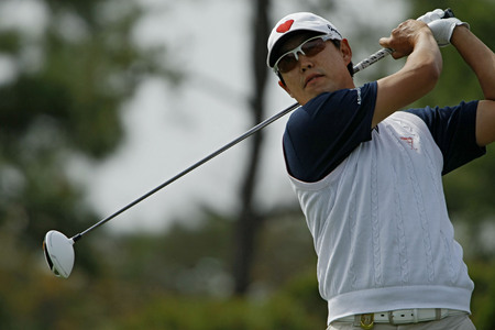 oh: April 28, 2012-South Korea, Icheon: David Oh of USA in action during the third round of the Blackstone Golf Club at Ballantines Championship.