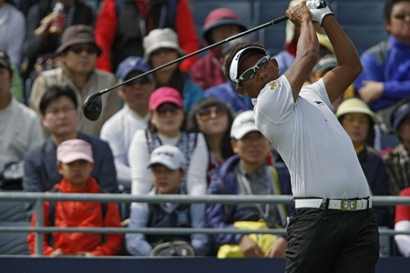 pga: April 28, 2012-South Korea, Icheon: Tongchai Jaidee of Thailand in action during the third round of the Blackstone Golf Club at Ballantines Championship. Editorial