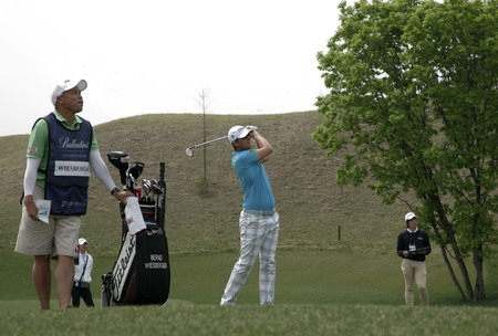 April 29, 2012-South Korea, Icheon : Bernd Wiesberger of Austria in action during the fourth round of the Ballantines Championship at Blackstone Golf Club. Editorial