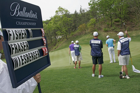 April 29, 2012-South Korea, Icheon : Bernd Wiesberger of Austria(R) and Oliver Fiser(L) in green during the fourth round of the Ballantines Championship at Blackstone Golf Club.