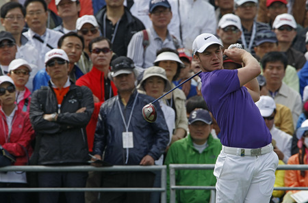 April 29, 2012-South Korea, Icheon: Oliver Fisher of England in action during the fourth round of the Ballantines Championship at Blackstone Golf Club. Editorial
