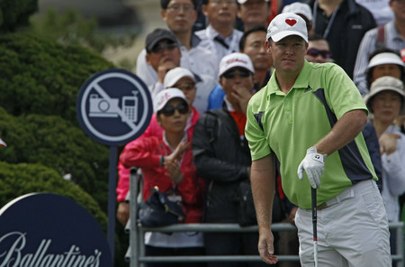 April 29, 2012-South Korea, Icheon : Marcus Fraser of Australia in action  during the fourth round of the Ballantines Championship at Blackstone Golf Club.