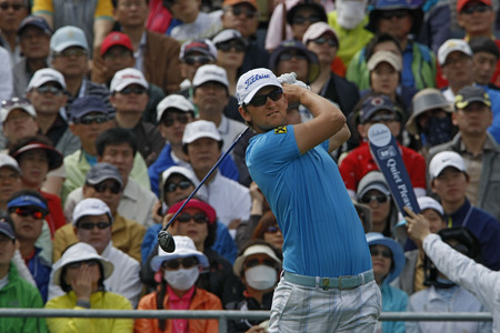 pga: April 29, 2012-South Korea, Icheon : Bernd Wiesberger of Austria in action  during the fourth round of the Ballantines Championship at Blackstone Golf Club.