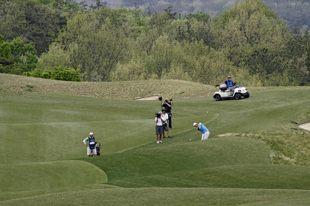 April 29, 2012-South Korea, Icheon : Bernd Wiesberger of Austria in action  during the fourth round of the Ballantines Championship at Blackstone Golf Club.