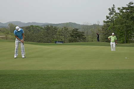April 29, 2012-South Korea, Icheon : Bernd Wiesberger of Austria in action during the winer prize after fourth round of the Ballantines Championship at Blackstone Golf Club. Editorial