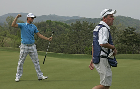 April 29, 2012-South Korea, Icheon : Bernd Wiesberger of Austria winning ceremony during fourth round of the Ballantines Championship at Blackstone Golf Club.