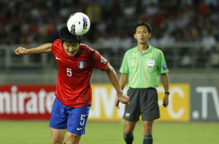 June 12, 2012 - Goyang, South Korea : South Korea of Kwak Tae Hwi heading shoot during the FIFA World Cup Asian Qualifier match between South Korea and Lebanon at the Goyang sports complex.