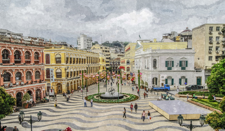 Oil painting of senado square scene.
