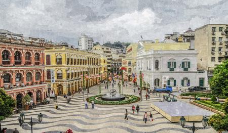 Olieverfschilderij van senado vierkante scène.
