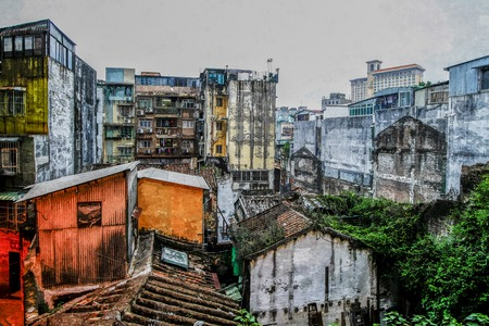 Oil painting of old village back street scene in Macau. Stock Photo