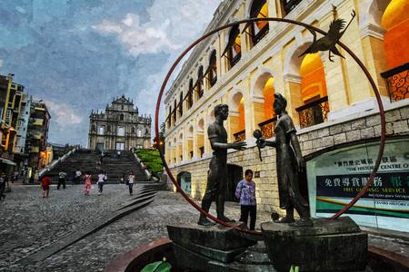 Oil painting of saint paulo catholic church near district evening scene in Macau.