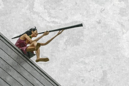 Oil painting of the journey mannequin look use single binocular at building roof top in Yeosu.