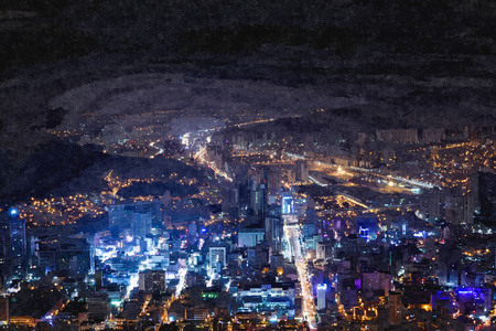 Oil painting of night view from Hwangnyeongsan Mountain in south of Korea. Stock Photo