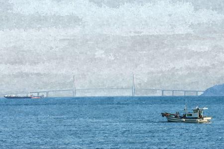 Oil paint of fishing boat work near Geogadaegyo Bridge in south of Korea.