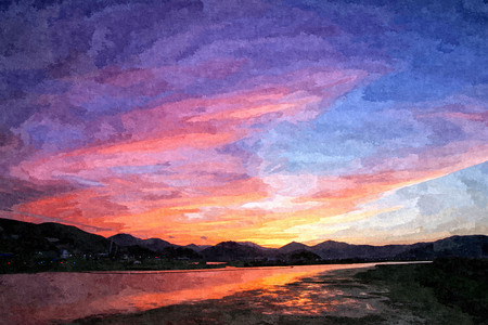 Oil painting of the beautiful sunset scene at the mouth of the Nakdong River in the south of Korea.