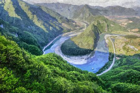 Oil paint of beautiful scene of korean peninsula topography in south east of Korea. Stock Photo