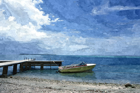 Oil paint of view of peaceful sea shore in island. Stock Photo