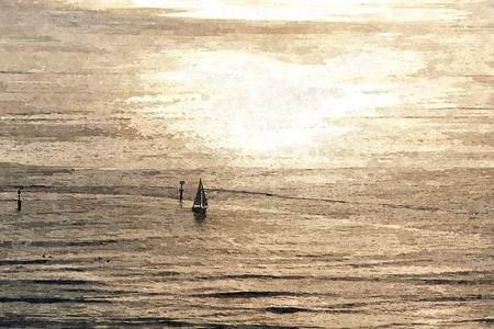 Oil paint of peaceful sunset with yacht sailing scene at ocean near Korea.