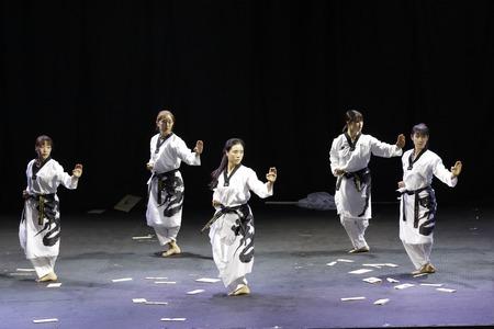 Internationale leden van het taekwondondemonstratieteam treden op op Kukkiwon, het hoofdkwartier van World Taekwondo, in Seoul, Zuid-Korea.