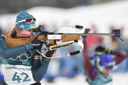 Feb 10, 2018-Pyeongchang, South Korea-Iryna VARVYNETS of Ukraine action on the snow during an Olympic Biathlon Women Sprint 7.5Km at Biathlon Center in Pyeongchang, South Korea.
