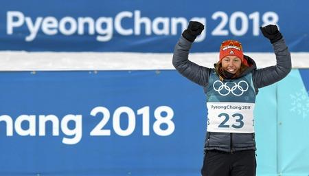 Feb 10, 2018-Pyeongchang, South Korea-Laura DAHLMEIER of Germany win ceremony after match during an Olympic Biathlon Women Sprint 7.5Km at Biathlon Center in Pyeongchang, South Korea. Editorial