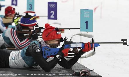 12 februari 2018 - Pyeongchang, Zuid-Korea - Vanessa HINZ van Duitsland actie in de sneeuw tijdens een Olympische Biathlon-achtervolging voor vrouwen op 10 km in Biathlon Center in Pyeongchang, Zuid-Korea. Redactioneel