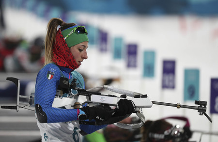 Feb 12, 2018-Pyeongchang, South Korea-Lisa VITTOZZI of Italy action on the snow during an Olympic Women Biathlon persuit 10km at Biathlon Center in Pyeongchang, South korea.