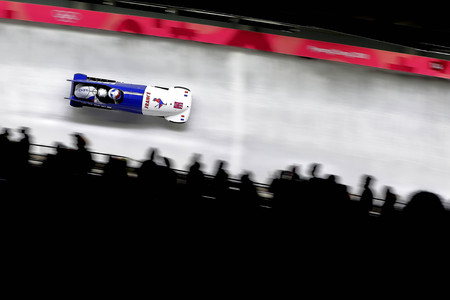 Feb 18, 2018-Pyeongchang, South Korea-France Bobsleigh Olympic Team action on the ice during an Olympic Bobsleigh 2Man Heat at Olympic Sliding Center in Pyeongchang, South Korea. Redactioneel