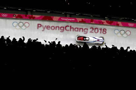 Feb 18, 2018-Pyeongchang, South Korea-South Korea Bobsleigh Olympic Team action on the ice during an Olympic Bobsleigh 2Man Heat at Olympic Sliding Center in Pyeongchang, South Korea.