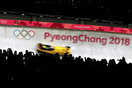 Feb 18, 2018-Pyeongchang, South Korea-Germany Bobsleigh Olympic Team action on the ice during an Olympic Bobsleigh 2Man Heat at Olympic Sliding Center in Pyeongchang, South Korea.