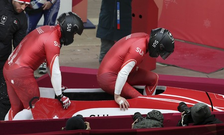 Feb 19, 2018-Pyeongchang, South Korea-Rico PETER, Simon FRIEDLI of Switzerland action on the ice during an Olympic Bobsleigh 2Man Run Heat at Olympic Sliding Center in Pyeongchang, South Korea.