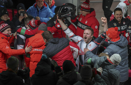 Feb 19, 2018-Pyeongchang, South Korea-Justin KRIPPS, Alexander KOPACZ of Canada Win ceremony after competition during an Olympic Bobsleigh 2Man Run Heat at Olympic Sliding Center in Pyeongchang, South Korea. Editorial