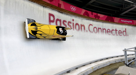 Feb 15, 2018-Pyeongchang, South Korea-Germany Team action on the ice during an Olympic Bobsleigh 2 Man Official Training at Olympic Sliding Center in Pyeongchang, South Korea.
