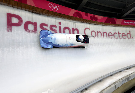 Feb 15, 2018-Pyeongchang, South Korea-Czech Republic Team action on the ice during an Olympic Bobsleigh 2 Man Official Training at Olympic Sliding Center in Pyeongchang, South Korea. Editorial