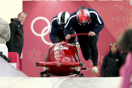 Feb 15, 2018-Pyeongchang, South Korea-Monaco Team action on the ice during an Olympic Bobsleigh 2 Man Official Training at Olympic Sliding Center in Pyeongchang, South Korea.