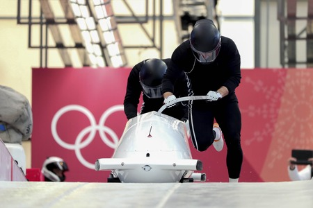 Feb 15, 2018-Pyeongchang, South Korea-Russia Team action on the ice during an Olympic Bobsleigh 2 Man Official Training at Olympic Sliding Center in Pyeongchang, South Korea.