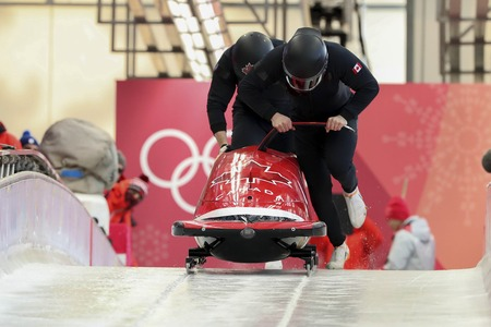 Feb 15, 2018-Pyeongchang, South Korea-Canada Team action on the ice during an Olympic Bobsleigh 2 Man Official Training at Olympic Sliding Center in Pyeongchang, South Korea.