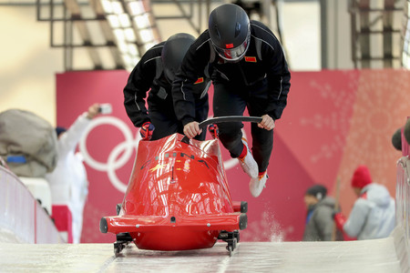 Feb 15, 2018-Pyeongchang, South Korea-China Team action on the ice during an Olympic Bobsleigh 2 Man Official Training at Olympic Sliding Center in Pyeongchang, South Korea.