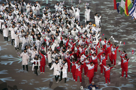 Feb 25, 2018-Pyeongchang, South Korea-South and North Korean Athletes enter the Pyeongchang Olympic Stadium during the closing ceremony of the Winter Olympics in South Korea.