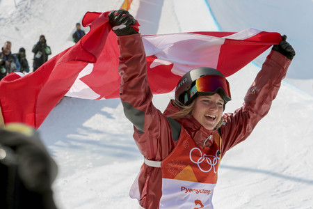 Olympic Freestyle Skiing Ladies' Ski Halfpipe Final Run Banque d'images - 105367021