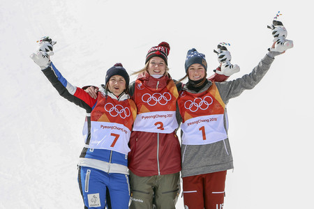 Olympic Freestyle Skiing Ladies' Ski Halfpipe Final Run Banque d'images - 105367023