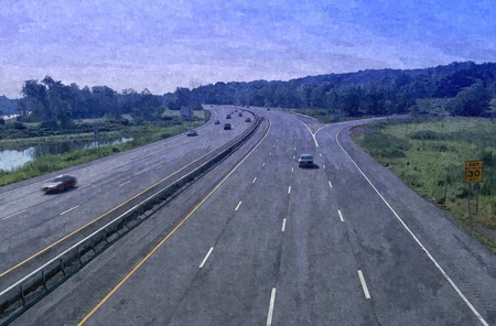 A view of daylight highway digital drawing image Stock Photo