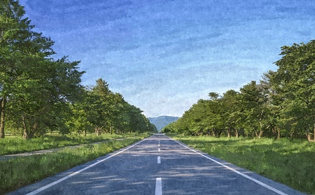 A view of daylight road digital drawing image Stock Photo