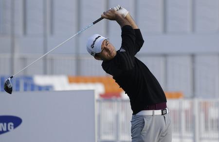 Nick Taylor of USA action on the 10th tee during an PGA TOUR The CJ CUP NINE BRIDGE at Nine Bridge CC in Jeju, South Korea. 写真素材 - 105367451