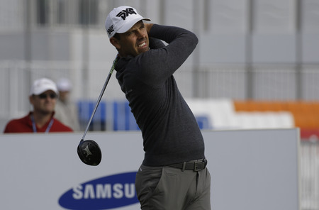 Charl Schwartzel of Republic of South Africa on the 10th tee during an PGA TOUR The CJ CUP NINE BRIDGE at Nine Bridge in Jeju, South Korea.