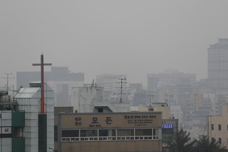 March 05, 2019-Changwon, Gyeongnam-Microdust covered sky and town at Changwon,south of Seoul, South Korea.  South Korea is moving to designate fine dust concentrations as a disaster in law, part of its countermeasures to the nations worsening air polluti