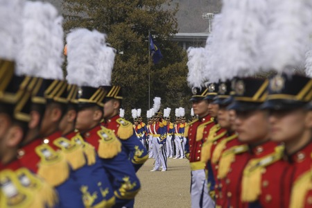 Feb 26, 2015 ? South Korea, Seoul : South Korean cadets attention  during a graduation ceremony of the 71st army academy at the Hwarang drill field in Seoul, South Korea, Thursday, Feb. 26, 2015. At the ceremony, 220 cadets including 19 female cadets, gra
