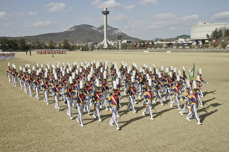 Feb 26, 2015 ? South Korea, Seoul : South Korean cadets marching during a graduation ceremony of the 71st army academy at the Hwarang drill field in Seoul, South Korea, Thursday, Feb. 26, 2015. At the ceremony, 220 cadets including 19 female cadets, gradu