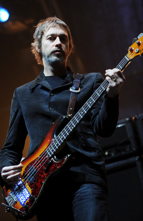Rock band OASIS Bassist Gem Archer performs on the stage during an Asia tour concert at the Olympic Hall in Seoul on April 1, 2009, South Korea.