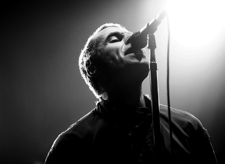 Rock band OASIS Vocalist Liam Gallagher performs on the stage during an Asia tour concert at the Olympic Hall in Seoul on April 1, 2009, South Korea.